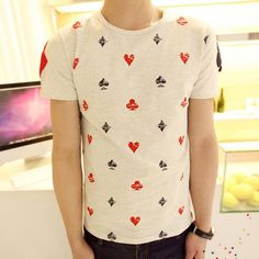Stylish Round Neck Slimming Color Block Poker Print Short Sleeve Men's Cotton T-shirt, OFF-WHITE, L in T-Shirts & Vests | DressLily.com $12