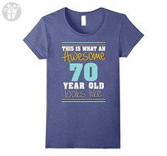 Women's 70th Birthday gift shirt Awesome 70 year old tshirt  Medium Heather Blue - Birthday shirts (*Amazon Partner-Link)