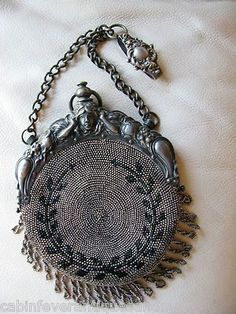 Antique Victorian Silver Art Nouveau Woman Chatelaine Kilt Steel Beaded Purse