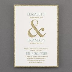 Your love for glam shines through! A gold glitter backer shows through a die-cut ampersand design on the white top layer.