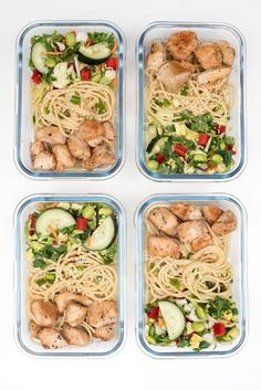 These Thai Peanut Chicken Meal Prep Bowls are a delicious grab-and-go meal. Crunchy slaw, sesame noodles, and chicken with an incredible easy peanut sauce! ~ https://www.fromvalerieskitchen.com