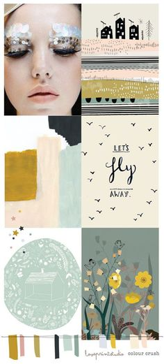 love print studio blog: COLOUR CRUSH - peach, dusty blue, dark charcoal, dark mustard