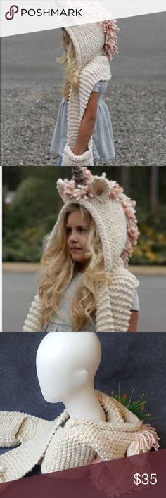 Kids Unicorn knitted scarf/hat/mittens all in one! Brand new Pink, white and cream unicorn knitted Scarf, hat, and hand warmer all in one!! This is so adorable and will fit any size from 4-10 years old. Absolutely a must have for little girls this winter!  Accessories
