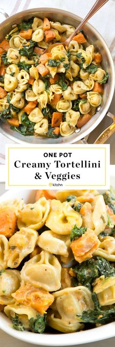 One pot creamy skillet tortellini dinner recipe. One pan pasta recipes are taking the world by storm! This vegetarian dish is a delicious meal to add to your routine of quick and easy weeknight meals! You'll need frozen tortellini, sweet potato, spinach, half and half and vegetable broth. Try it for Meatless Monday!