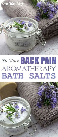 (No More) Back Pain Aromatherapy Bath Salts Use this selection of anti-inflammatory and antispasmodic essential oils in your Epsom salts for a brilliant home remedy for back pain cramping or tired sore muscles. Diy Bath Salts With Essential Oils, Homemade Essential Oils, Young Living, Essential Oils Sore Muscles, Bath Salts Recipe, Shower Bombs, Bath Bombs, Bath Shower, Nails Polish