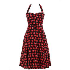 ROBE COEURS ROUGE RÉTRO/ VINTAGE/ ROCKABILLY - PIN UP / T 36/38 - 52/54