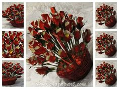Xmas chocolate  flowers. Chocolate Flowers, Chocolate Bouquet, Candy Bouquet, Xmas, Gifts, Handmade, Yule, Presents, Hand Made