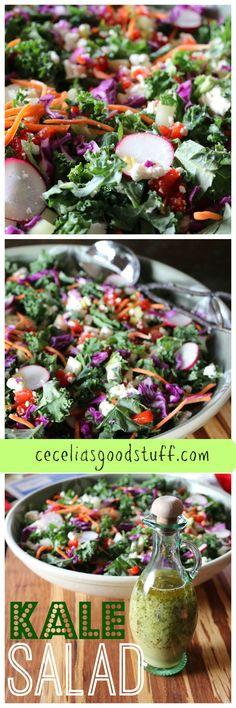 Kale Salad - Lemon Herb Vinaigrette - Perfection! Recipe here - http://ceceliasgoodstuff.com/kale-salad-lemon-herb-vinaigrette