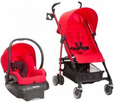 Intense Red Baby Stroller Travel System Kid Car Seat Adjustable Folding Safety