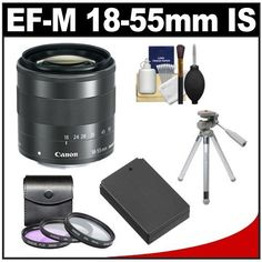 Canon EF-M 18-55mm f/3.5-5.6 IS STM Zoom Lens with LP-E12 Battery + 3 UV/FLD/CPL Filters + Tripod + Accessory Kit for EOS M Digital Camera by Canon. $329.95. Kit includes:♦ 1) Canon EF-M 18-55mm f/3.5-5.6 IS STM Zoom Lens♦ 2) Spare LP-E12 Battery for Canon♦ 3) Zeikos 3-Piece Multi-Coated Glass Filter Kit (52mm UV/FLD/CPL)♦ 4) Sunpak PicturesPlus 1000XL Compact Tripod with Case♦ 5) Precision Design 6-Piece Camera & Lens Cleaning KitDesigned for use wit...