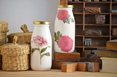 Two Shades of Pink: Decoupage Milk Bottles Kit with Darby Smart