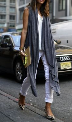 all white outfit with a gray waterfall vest & statement shoes