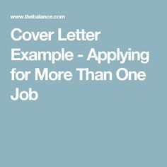 cover letter for more than one job