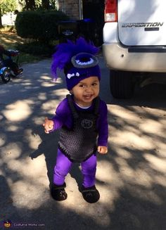 Demetria: This is my 12 month old son Carter wearing a crochet purple minion costume that I made for him. We got the idea from the Despicable me cartoon.