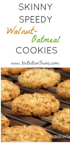 Skinny, Speedy Walnut Oatmeal Cookies | 3 Simple Ingredients | Super Easy to Make | Healthy Dessert | Guilt-free | Only 55 Calories | For MORE RECIPES, fitness & nutrition tips please SIGN UP for our FREE NEWSLETTER www.NutritionTwins.com