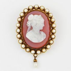 Victorian Cameo and Pearl Brooch $1,999.00