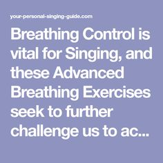 Breathing Control is vital for Singing, and these Advanced Breathing Exercises seek to further challenge us to achieve a strong breath support for great singing! Singing Quotes, Singing Tips, Vocal Exercises, Learning To Relax, Vocal Range, Workout Warm Up, Piece Of Music, Sounds Great, Teaching Music