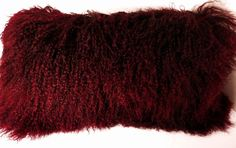 Burgundy Mongolian Fur Pillow