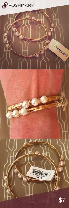 Faux pearl and gold bangles Set of faux pearl and gold bangles! NWT! ***bundle and save!*** Panacea Cache Jewelry Bracelets