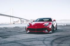 "red ferrari f12 with svr kit and 20"" / 21"" brixton forged wr7 targa series 3 piece forged wheels satin black"