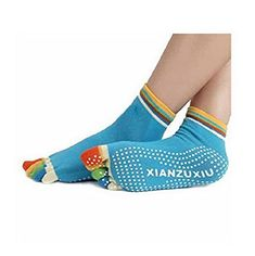 Womens 5Toe Colorful Yoga Gym Non Slip Massage Toe Socks * More info could be found at the image url.