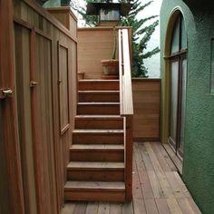 cedar hot tub with custom deck surround and led riser lights - Yelp Custom Decks, Tub, Stairs, Lights, Home Decor, Bathtubs, Stairway, Decoration Home, Room Decor