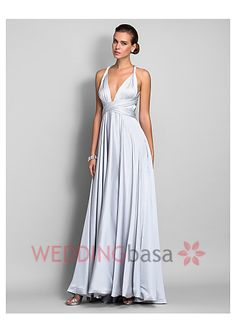 Wholesale 2015 Charming Silver Custom Made A-line Straps Floor-length Satin Chiffon Evening Dress Sex V-Neck Halter Backless Pleated Floor Length Cheap Party Prom Dress