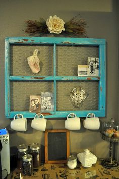 Using an antique window frame and table we added an adorable… DIY Coffee Bar! Using an antique window frame and table we added an adorable coffee bar to our kitchen. Antique Window Frames, Antique Windows, Vintage Windows, Old Windows, Window Frame Ideas, Window Pane Decor, Vintage Window Decor, Frames Ideas, Window Panes