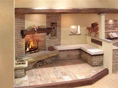 Ristrutturare un camino vecchio (Foto Inglenook Fireplace, Fireplace Design, Pueblo House, Indoor Outdoor Fireplaces, Tuscan Decorating, Cabins And Cottages, Home Living Room, Interior Design Living Room, Sweet Home