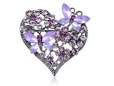 Swarovski Crystal Elements Gunmetal Lavender Love Heart Butterfly Duo Pin Brooch Alilang http://www.amazon.com/dp/B008KQ36IY/ref=cm_sw_r_pi_dp_BkN5vb0P4MTAF