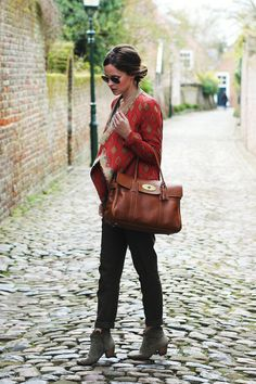 """100% win-can I have everything she is wearing (bag too) and stand just-so in a cobbled street? this to me is perfection in outfit selection and the jacket is so unusual and beautiful. And its comfortable! winning, one of my top favourites thus far."""