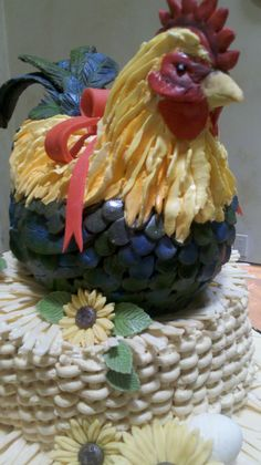 Rooster Cake - Vanilla Roster cake with Chocolate Mousse, Basket Cake bottom Chocolate cake with Vanilla cream.