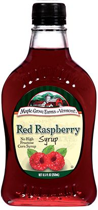 Red Raspberry Fruit Flavored Syrup is a raspberry lover's delight. maplegrove.com #raspberry #syrup #maplegrovefarms