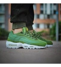 best service a4bf3 0c27a Nike air max 95 army green white trainers has modern design and fresh  color, it satisfies people s newness.