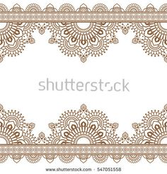 Seamless Pattern Indian Brown Henna mehndi border elements with flowers for card and tattoo on white background. Vector illustration