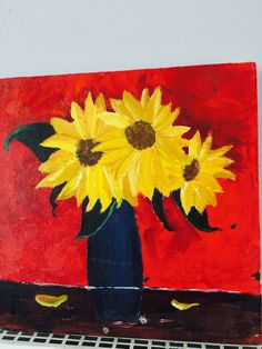 Sunflowers in a vase  By Shazia