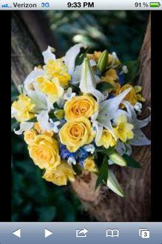 Yellow, white & blue wedding flower boquet