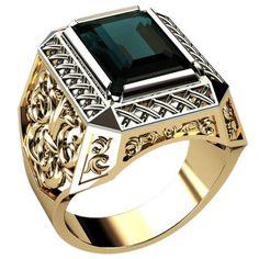 emerald mens ring