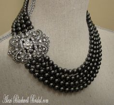 Black Pearl Statement Necklace Set with Rhinestone Brooch necklaces by AlexiBlackwellBridal, $135.00