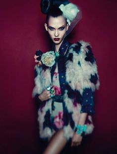 Karlie Kloss - Echo part 2 inspiration. Coat, undies, corset. (to do with black, orange floral jacket)