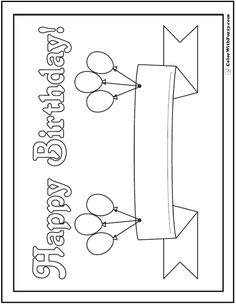 55+ Birthday Coloring Pages: Customizable PDF | Happy birthday ...