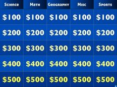 Create your own jeopardy online without using PowerPoint