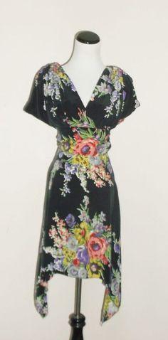 Trashy Diva black floral silk  Obi 2 Dress