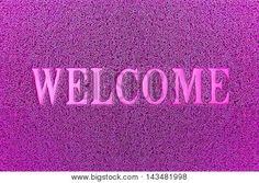 Image of Welcome Purple Door Mat Welcome Carpet Background