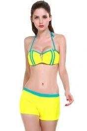 Yellow Contrast Tube Stripes 3pcs Women Swimsuit