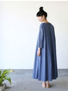 Big tuck dress~cotton ramie twill dungaree 4