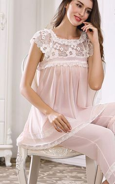 Miss Linda is elegant designs of intimate apparel, Serene comfort cotton nightgowns & soft and lightweight of luxury silk elegance womens sleepwear Sleepwear Women, Lingerie Sleepwear, Nightwear, Pretty Lingerie, Beautiful Lingerie, Vintage Lingerie, Abaya Fashion, Fashion Outfits, Night Dress For Women