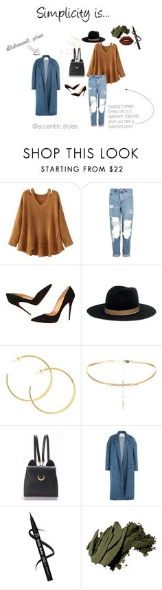 """""""Simplicity is..."""" by lwheeler1029 on Polyvore featuring WithChic, Topshop, Christian Louboutin, Janessa Leone, Sandy Liang, Bobbi Brown Cosmetics and Lime Crime"""