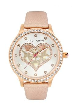 Betsey Johnson Heart Dial Metallic Leather Strap Watch, 40mm | Nordstrom