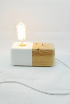 Wood Modern Handmade Table Lamp Edison Style GeometricWood Block White Panselinos